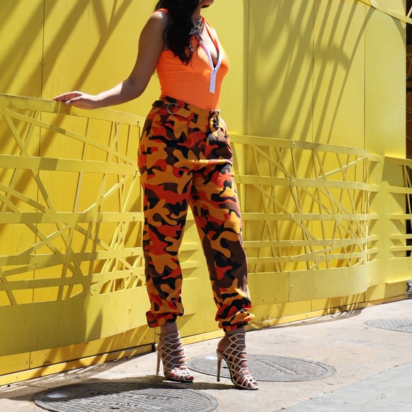 3c3e04a9e1d38 Fashion Nova Pants | Orange Camo | Poshmark